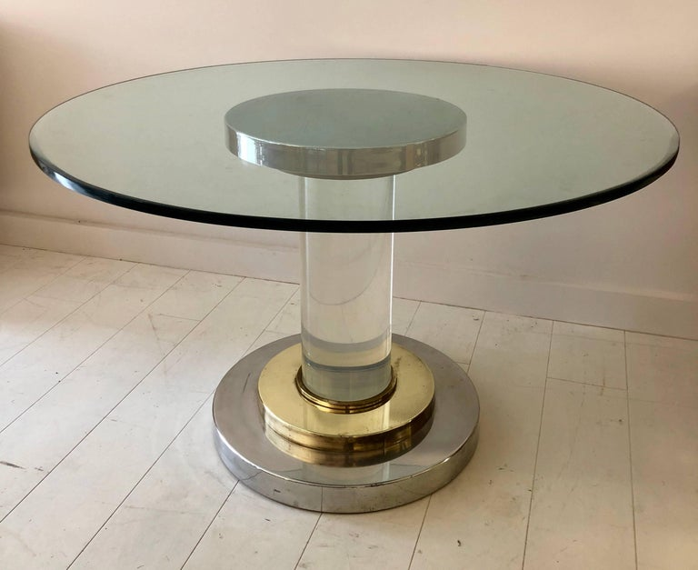 Lucite Pedestal Table by Romeo Rega For Sale 3