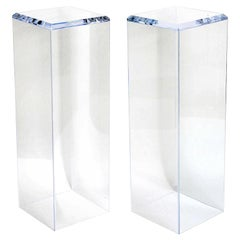 (One) Lucite Pedestal with a Beveled Edge