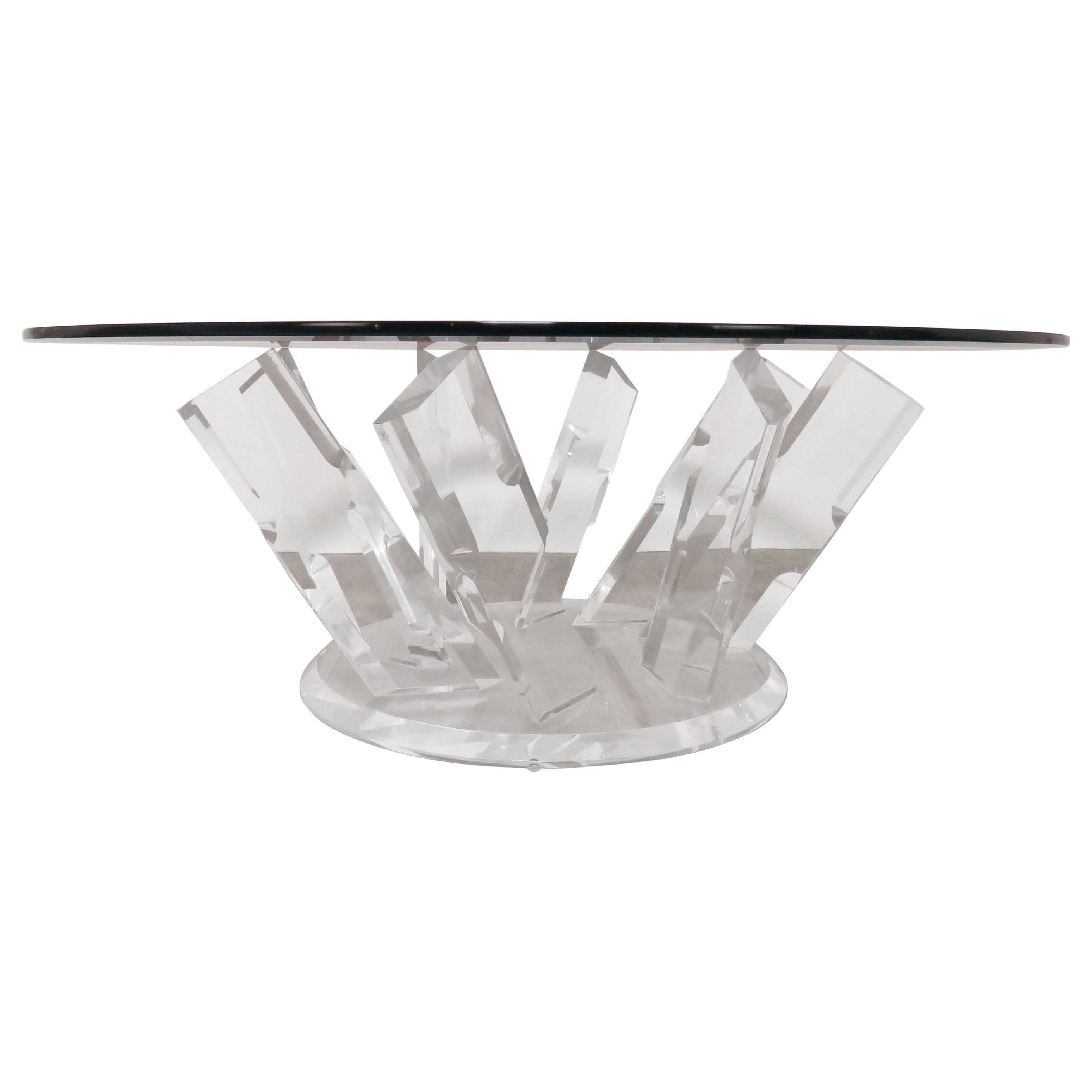 Lucite Pinwheel Form Coffee Table, circa 1980s