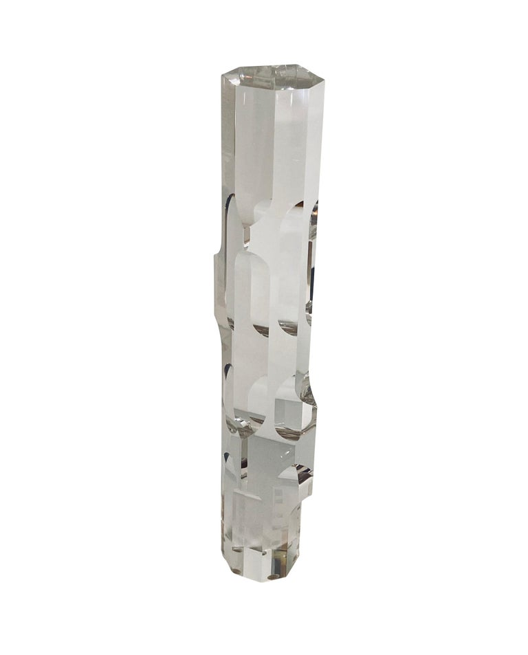 Mid-Century Modern Lucite Prism Tower Sculptures by Alessio Tasca for Fusina For Sale