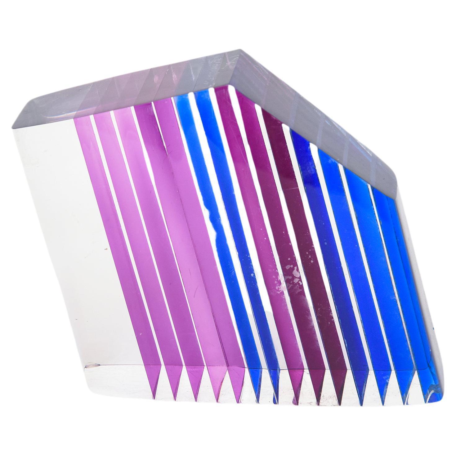 Lucite Purple, Blue, Pink, Angled Signed Lucite Sculpture Vintage Desk Accessory