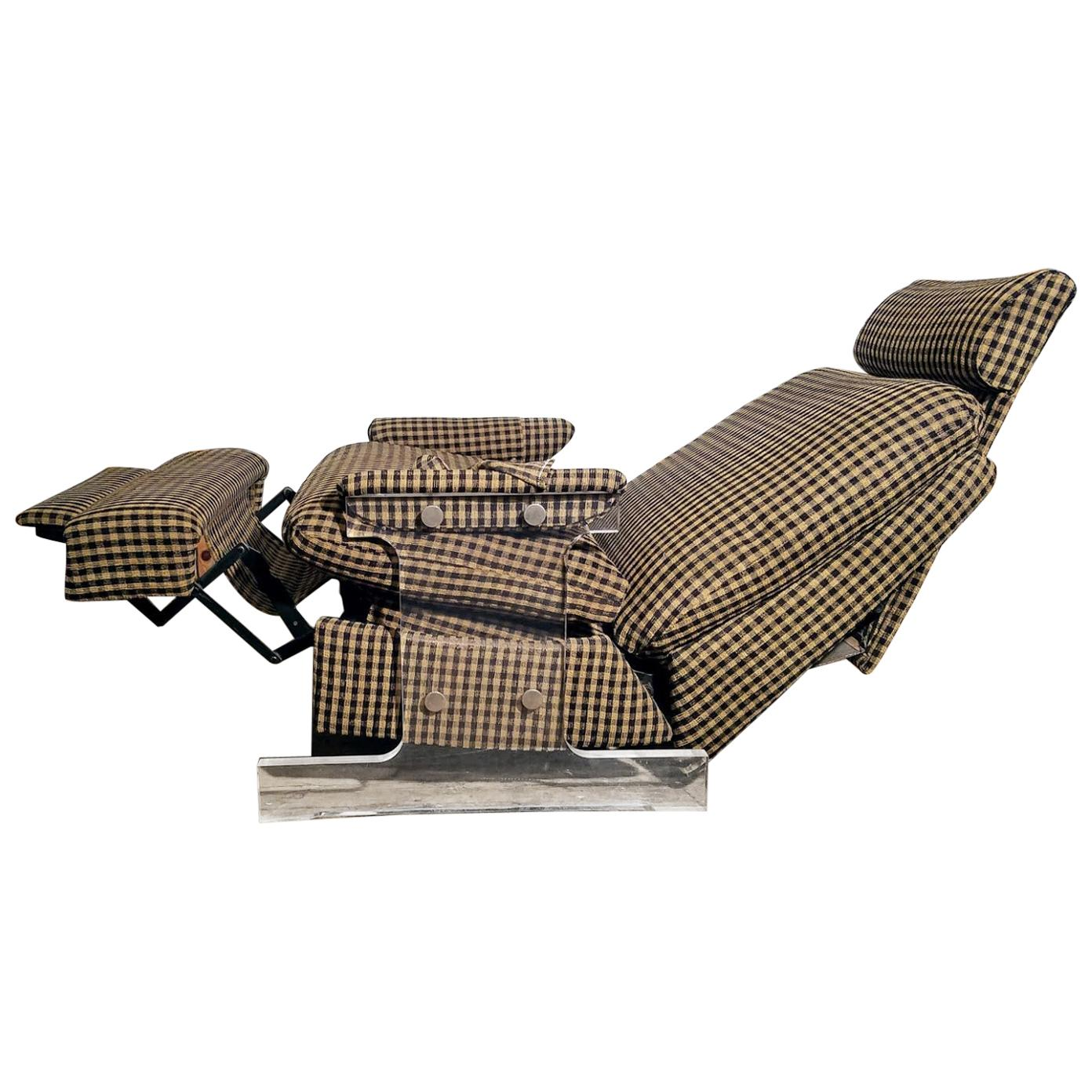 Lucite Reclining Lounge Chair, 1980s