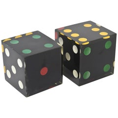 Lucite Sculptural Dice Vintage Pair of French