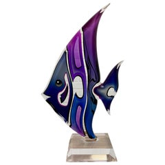 Lucite Sculpture Angel Fish by Shlomi Haziza