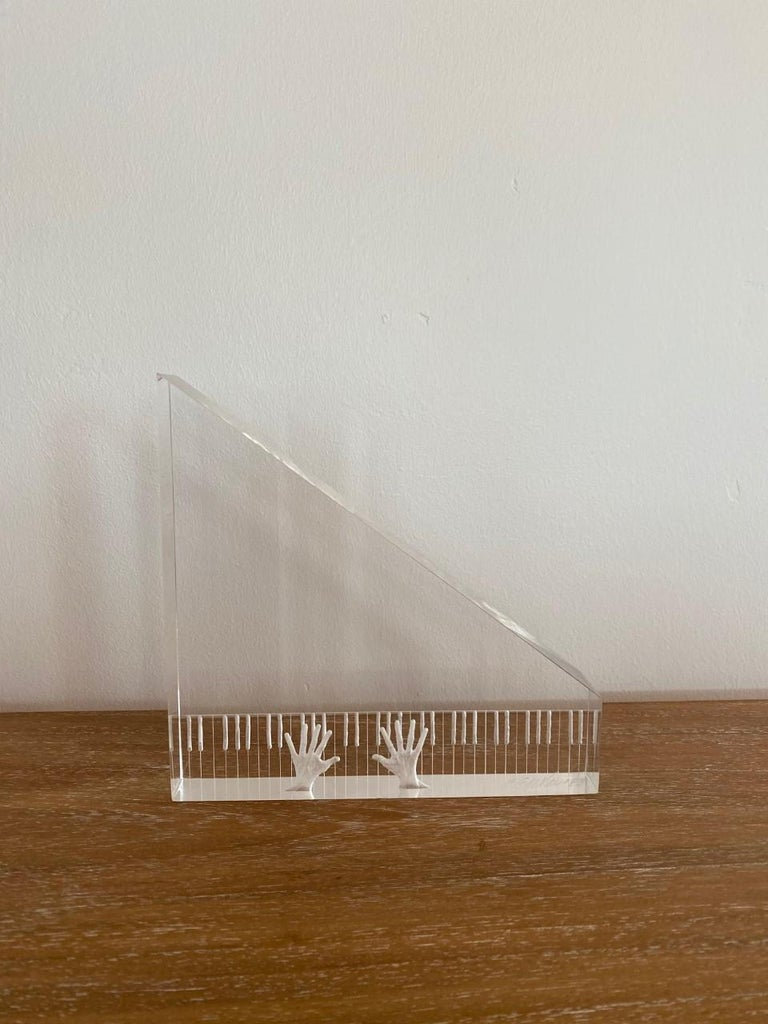 """Lucite piano and hands sculpture, circa 1980s. Similar style to Eugene Brignola exquisite details. Measures: 8"""" long, 8"""" tall, 1.5"""" wide signed by artist (Joseph Galvan)."""