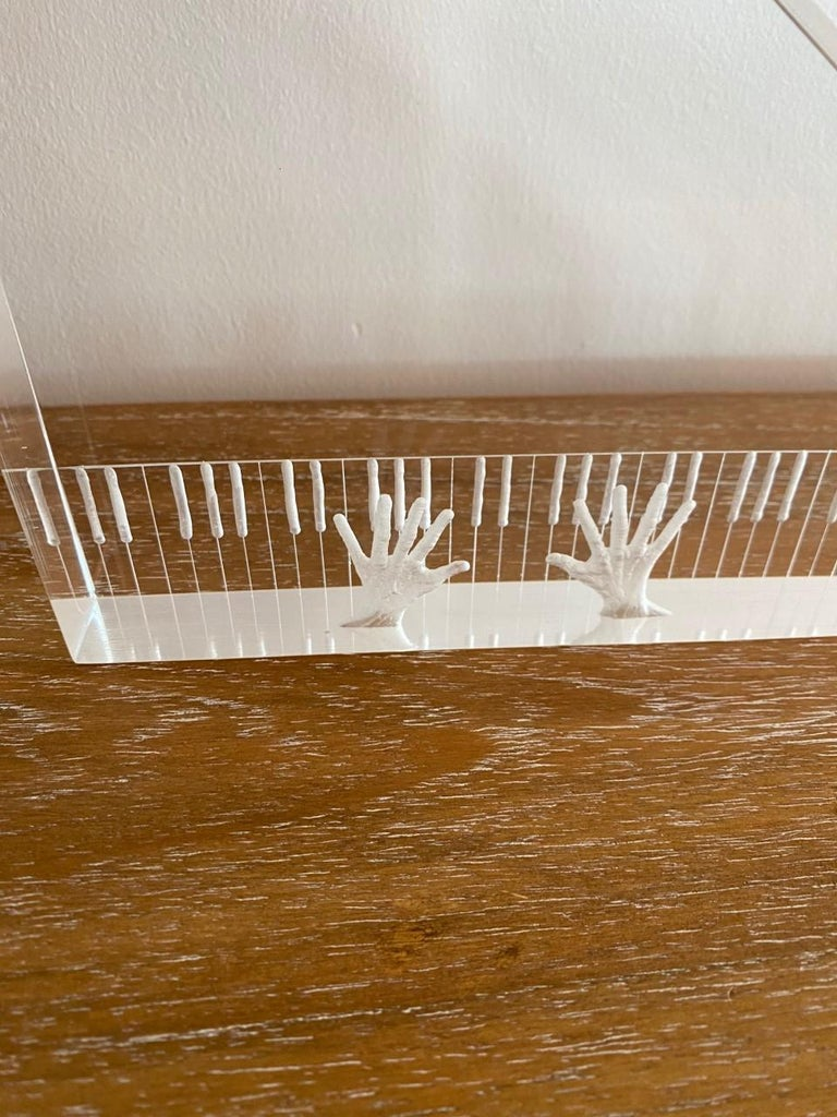 Hand-Crafted Lucite Sculpture Piano and Hands For Sale