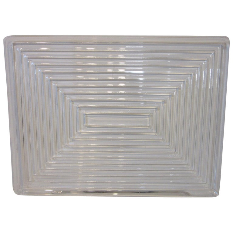 Lucite Serving Tray in the Manner of Eliel Saarinen and Art Deco For Sale