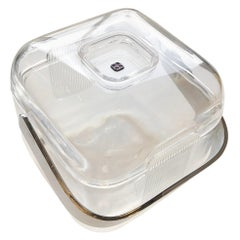 Lucite Shell & Fitted Lid with Chrome Plate Handle and Lucite Lining Ice Bucket