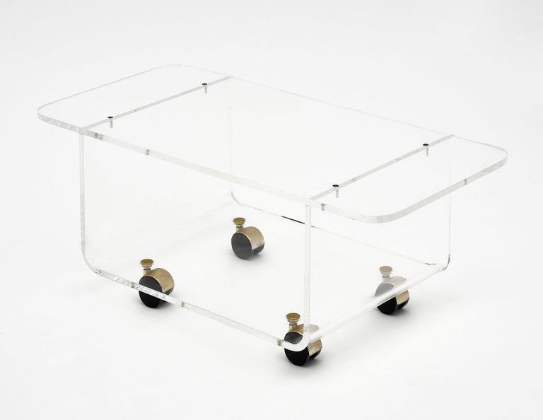 Late 20th Century Lucite Side Table by David Lange For Sale
