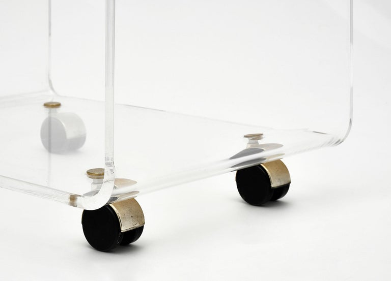 Lucite Side Table by David Lange For Sale 1