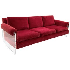 Lucite Sided Sofa by Milo Baughman for Thayer Coggin