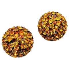 Lucite studded topaz paste 'ball' earrings, 1960s