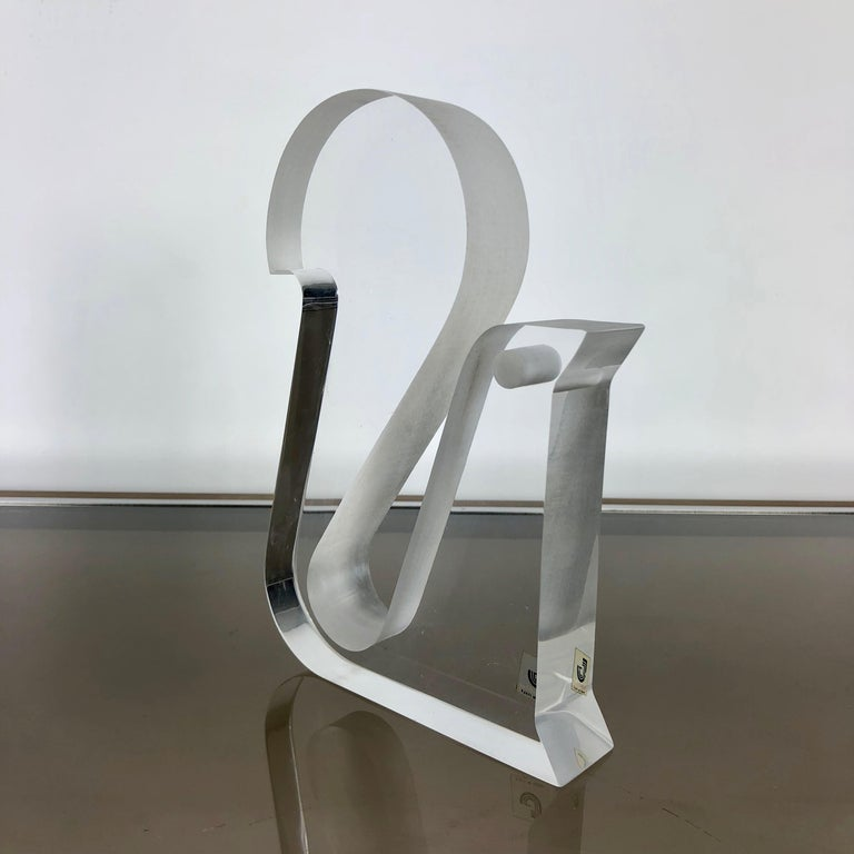 Mid-Century Modern Lucite Stylized Squirrel Sculpture by Chief Artist Tim S. Crea for Team Guzzini For Sale