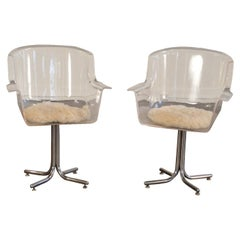 Lucite Swivel Armchairs by Leon Rosen for Pace