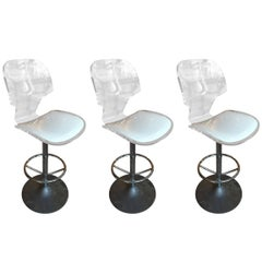 Lucite Swivel Bar Stools, Aluminum Tulip Base by Hill Manufacturing