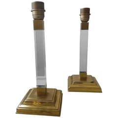 Vintage Hollywood Regency Lucite Table Lamps  1970s