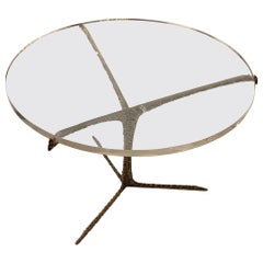 Lucite Top, Hammered Brass Base Coffee Table, Portugal, Contemporary