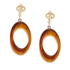 Lucite Tortoise Dangle Hoop Earrings By Crown Trifari, 1960s