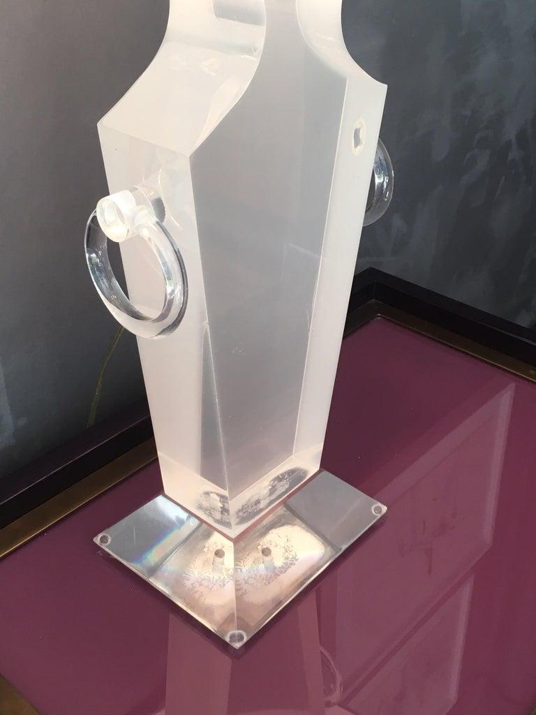 Lucite Urn Shaped Lamp by Karl Springer For Sale 7