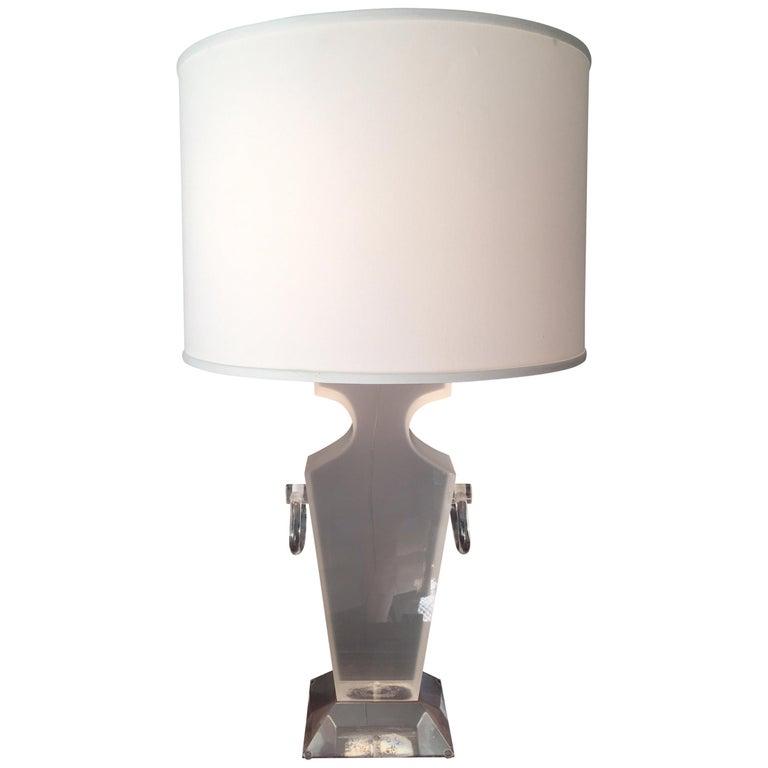 Lucite Urn Shaped Lamp by Karl Springer For Sale