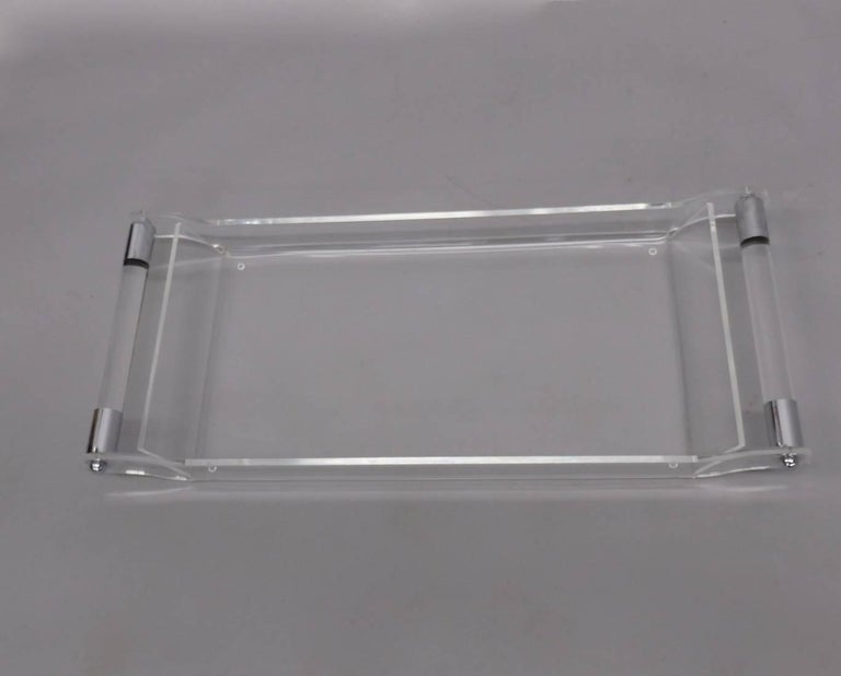 Mid-Century Modern Lucite with Chrome Serving Tray For Sale