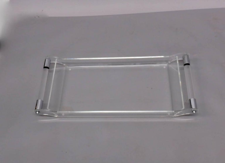 American Lucite with Chrome Serving Tray For Sale