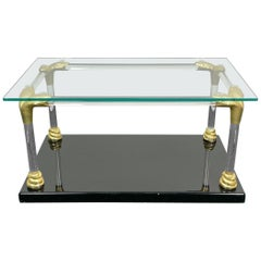 Lucite, Wood and Brass Coffee Table with Snake Head Details, Italy, 1970s