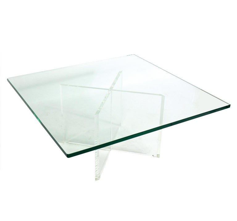 Mid-Century Modern Lucite X-Base Coffee Table For Sale