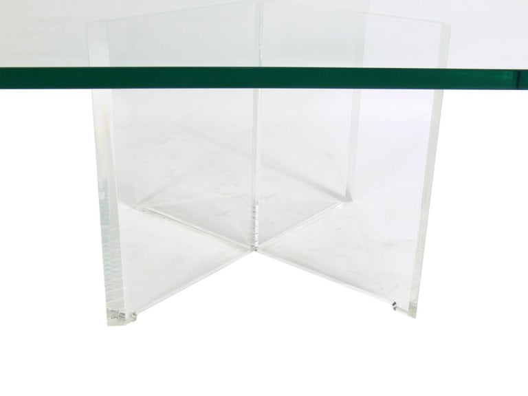 American Lucite X-Base Coffee Table For Sale