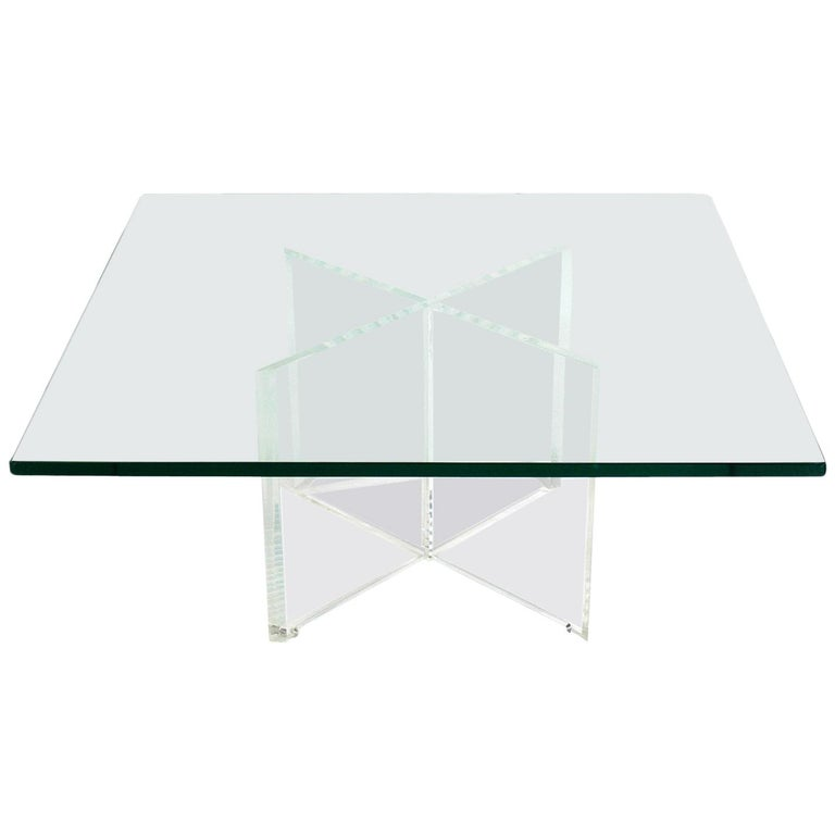Lucite X-Base Coffee Table For Sale