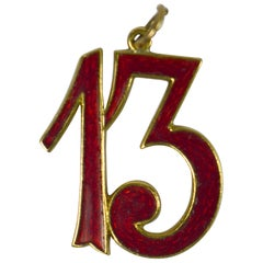 Lucky 13 Red Enamel Gold Charm