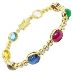 Lucky 9-Gems Bracelet Set in 18 Karat Gold Setting