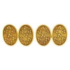 Lucky Art Nouveau 14 Karat Gold Men's Clover Cufflinks