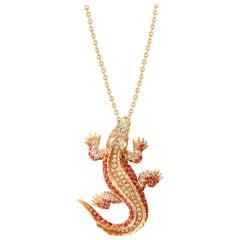 Lucky Diamond Ruby Pearl 18 Karat Yellow Gold Precious Alligator Necklace