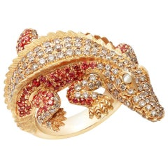 Lucky Diamond Ruby Pearl 18 Karat Yellow Gold Precious Alligator Ring for Her