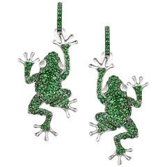 Lucky Diamond Tsavorite 18 Karat White Gold Precious Frog Earrings for Her