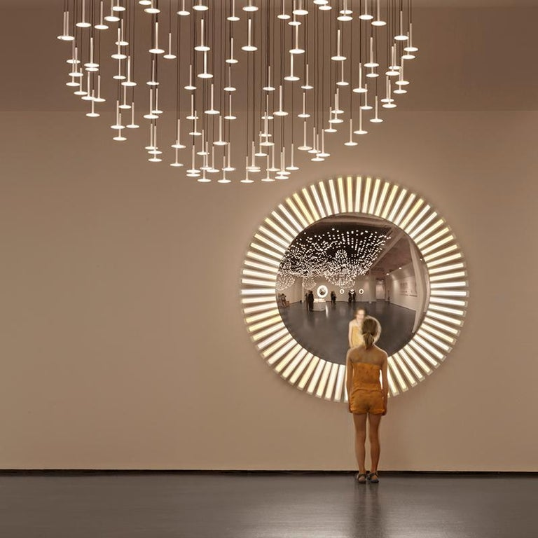 Lucky Eye OLED Wall Mirror or Wall Sculpture with Lights Designed by Aldo Cibic 3