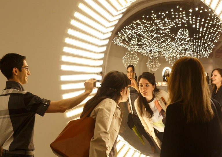 Lucky Eye OLED Wall Mirror or Wall Sculpture with Lights Designed by Aldo Cibic 4