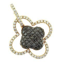 Lucky Four-Leaf Clover Diamond and Black Diamond Rose Gold Pendant