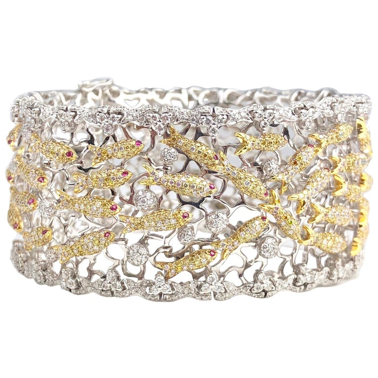 DiamondTown Lucky Golden Fish Cuff Bracelet with Yellow and White Diamonds For Sale