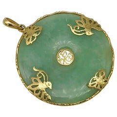 Lucky Green Jade Pendant with Peacock and Butterfly