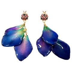 Lucky Ladybug Earrings with Orchid Petals, Sapphires, Diamonds in 18 Karat Gold