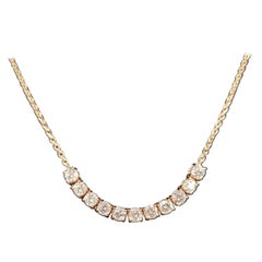 Lucky U-Shape Diamond 14 Karat Rose Gold Necklace