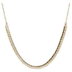 Lucky U-Shape Diamond 14 Karat Yellow Gold Necklace
