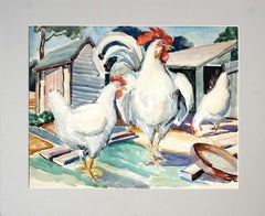 White Rooster & Hens