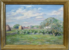 Impressionist Landscape Oil Painting of a Farm by Lucy Hariot Booth