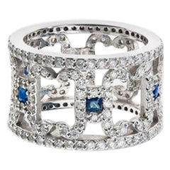 Lucy II Banded Cage Ring White Diamonds and Blue Sapphires