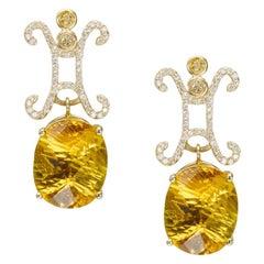 Lucy II Stud Earrings with Champagne, White Diamonds Fancy Cut Golden Beryls