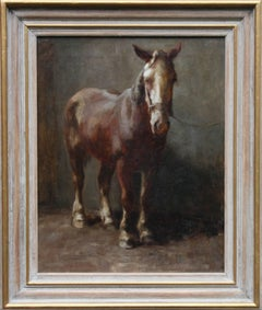 Brown Beauty Horse - British Impressionist Edwardian oil painting equine art
