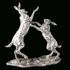 'Boxing Hares' Sterling Silver Limited Edition Sculpture by Lucy Kinsella